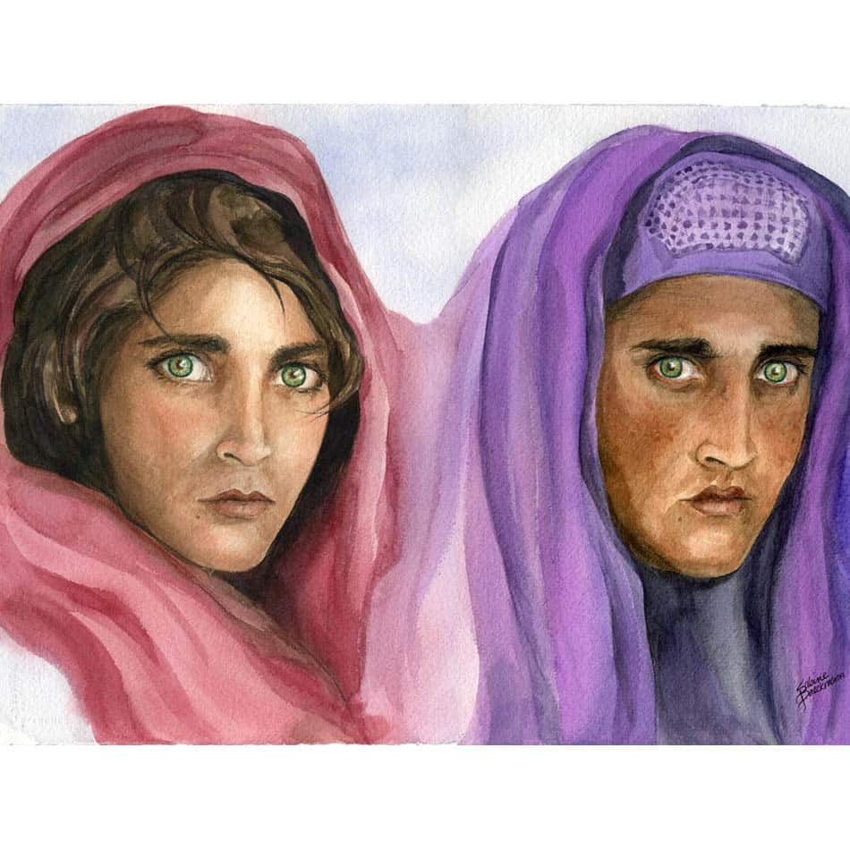 Original watercolor portraits of an Afghan girl - first at age 16 then after 13 years facing the war in Afghanistan