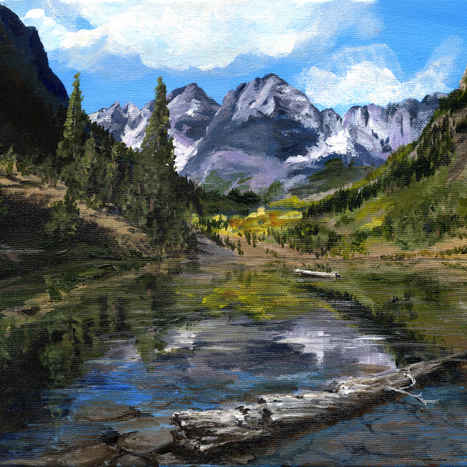 Maroon Lake, CO, USA- Original Acrylic Painting - 9X12