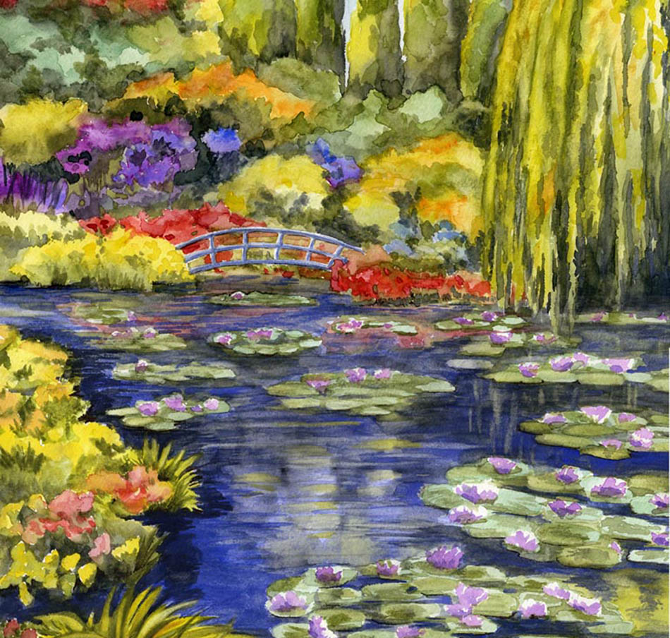 Original watercolor of Monet's famous Giverny Garden