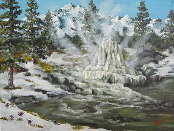 "Pagosa's Healing Waters - Original Oilpainting - 24"" x 18"" Framed - From the collection of the Pagosa Springs Ruby Sisson Library - Please see more of my original work in Fine Art"