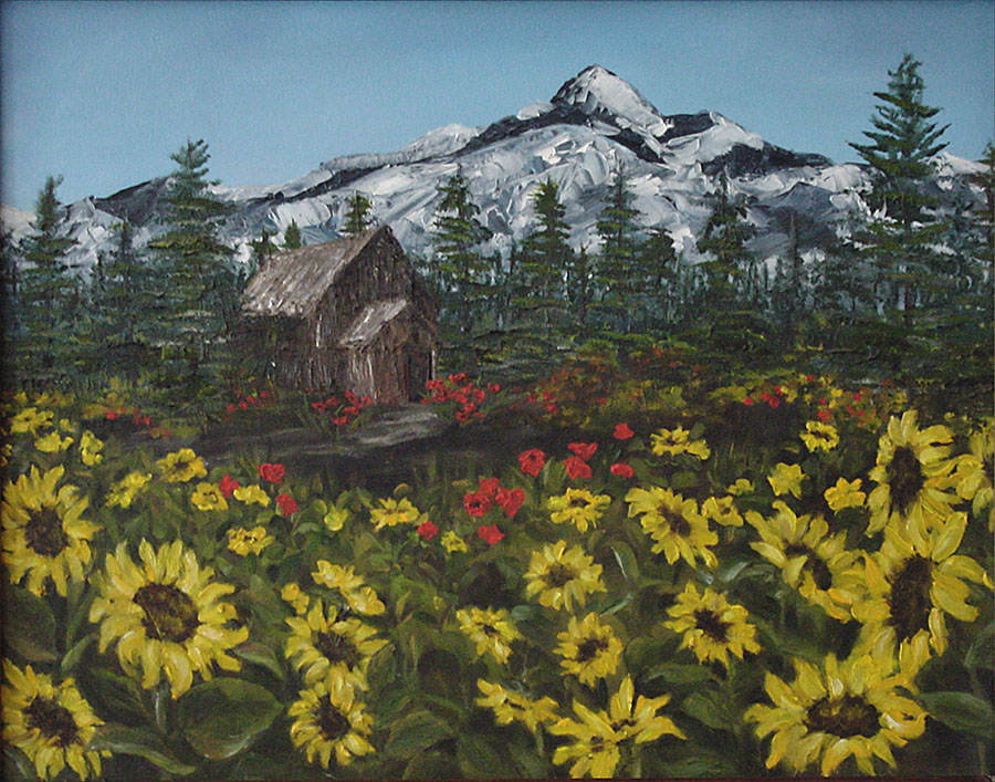 Sunflower Cabin - Original Oils - Framed - S. Baeckmann
